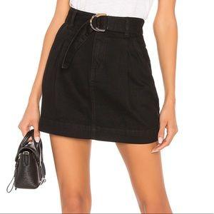 Free People Black Denim Belted Skirt